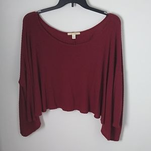 Miami Off The Shoulder Cranberry Sweater